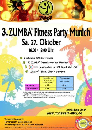 3. ZUMBA® Fitness Party Munich am 27.10.12